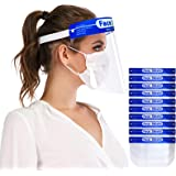 Safety Face Shields 10 Pack, Protective Face Shield Mask with Clear Wide Visor, Lightweight Transparent Dustproof Windproof F