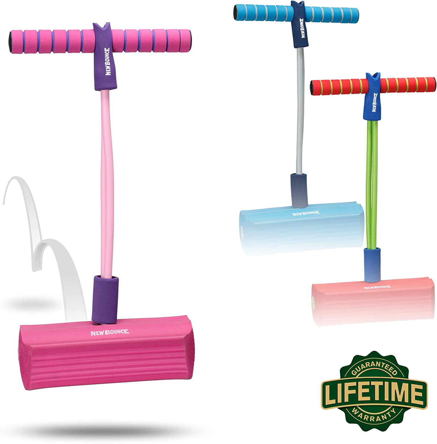 an image of bouncy pogo sticks in blue, pink and red colors.