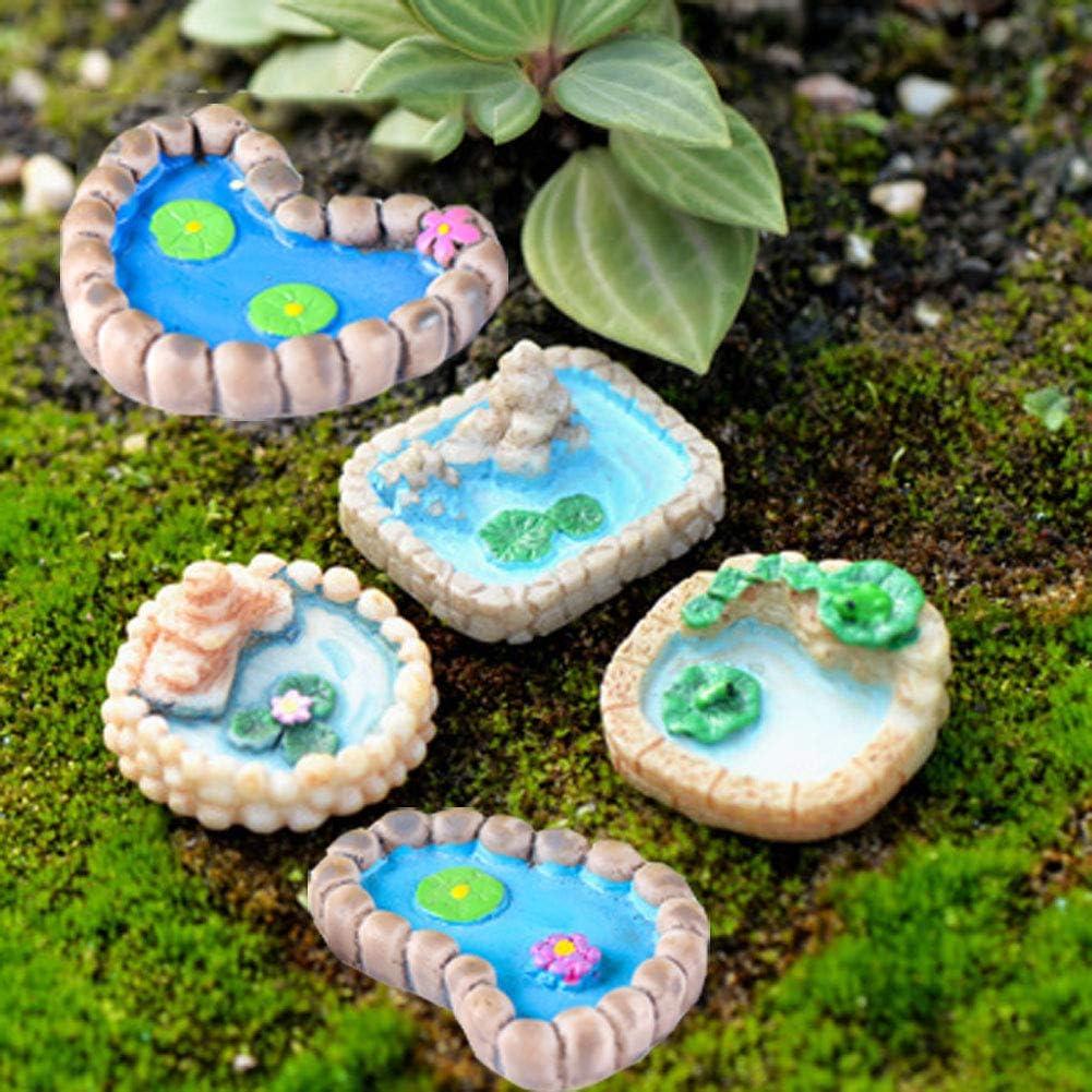 5 Pieces Miniature Fairy Garden Ornaments Kit, Fairy Garden Miniature Pond, Miniature Garden Accessories for Plant Pot, Micro Landscape Decoration (5 Pcs Miniature Pond)