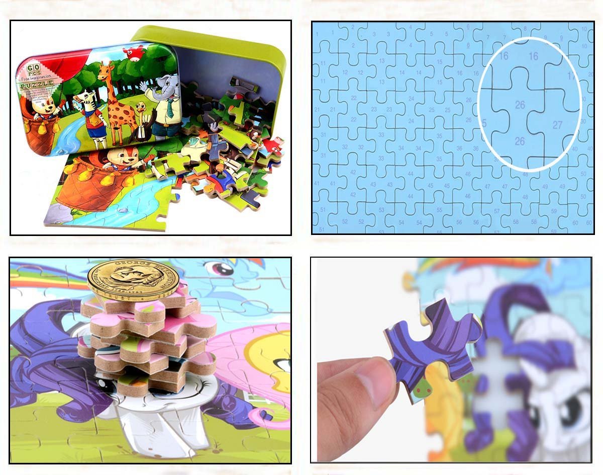 CCLFIE Forest Animals Jigsaw Puzzle 60 Piece and 60 Piece Bear Jigsaw Puzzle Bundle with Storage Box Wooden Education Toys for Kids CCLIFE