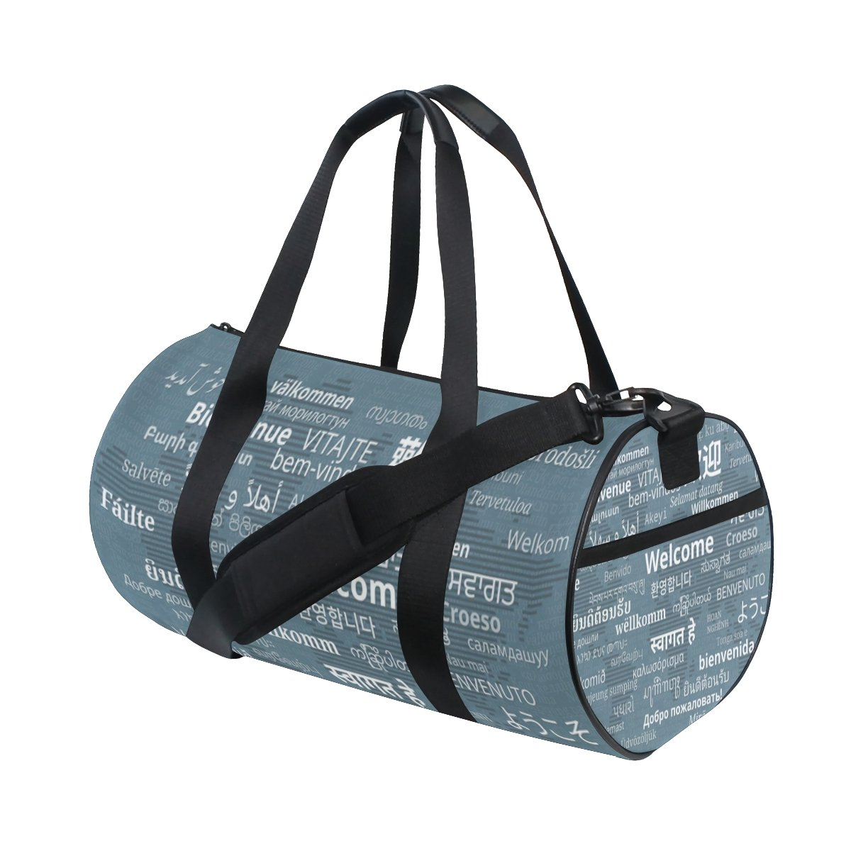 Gym Sports Bag Multilingual Welcome World Map Travel Duffel Bag for Men and Women