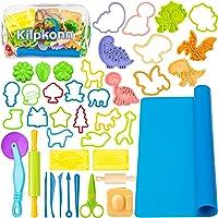 Play Dough Tool Kit for Kids, 41Pcs Dough Accessories Molds, Shape, Scissors, Roller Pin, Playdough Mat with Storage Bag…