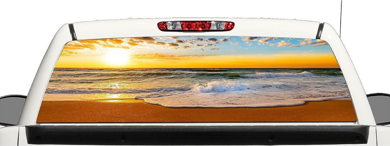 Truck SUV Beach Ocean Sunset Rear Window Graphic Decal Perforated Vinyl Wrap avgrafx grf1000