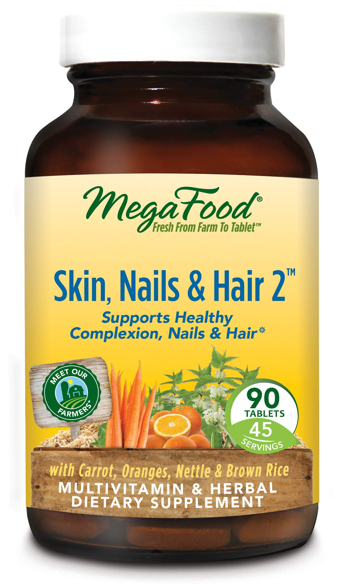 MegaFood, Skin, Nails, and Hair 2, Whole Food Multivitamin and Dietary Supplement, Supports Healthy Complexion, Nails, and Hair, Vegetarian, Gluten Free, Non-GMO, 90 Tablets (45 Servings)