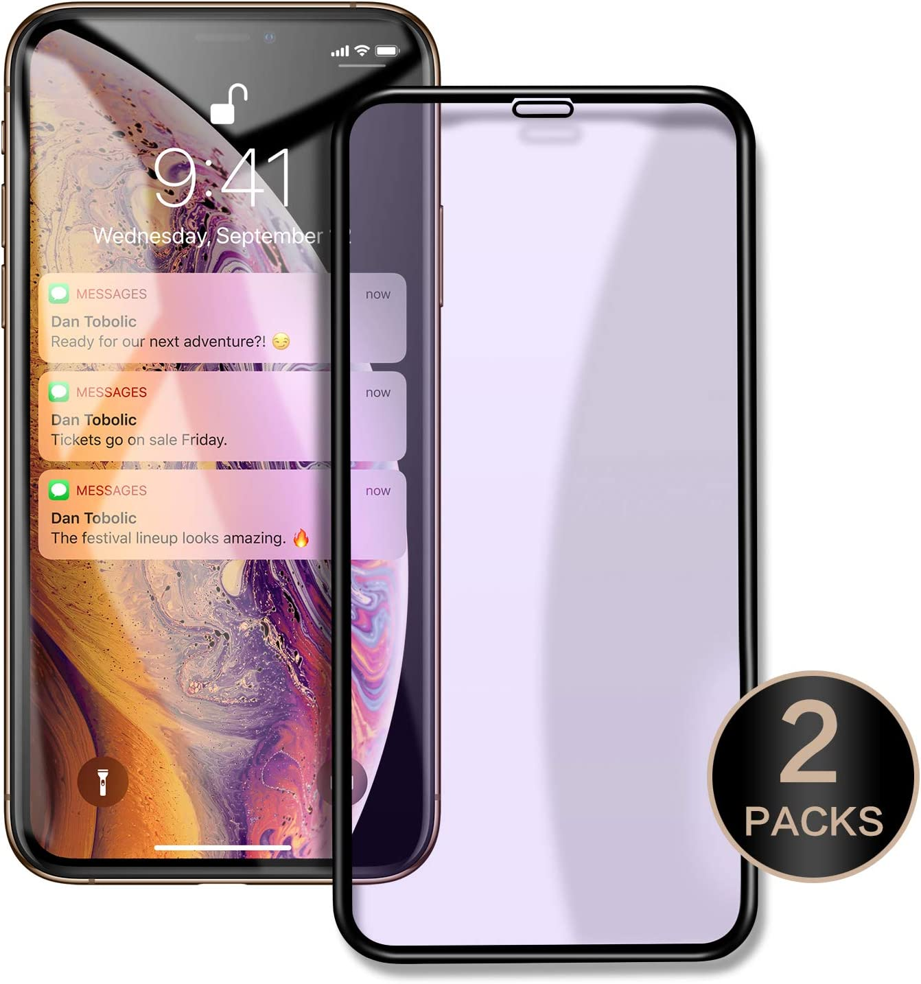 """ICONFLANG Compatible Screen Protector for iphone XS Max 6.5"""" 3D curved surface Tempered Glass Film [2 Pack] 3D Touch Full screen coverage (Clear2(Anti-Blue Ray))"""