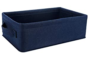 Decorative Storage Basket Collapsible Felt Bins Fabric Baskets Storage Organizer for Underwear Socks Bra Towel Toiletry Baby Products Storage Basket Navy Blue