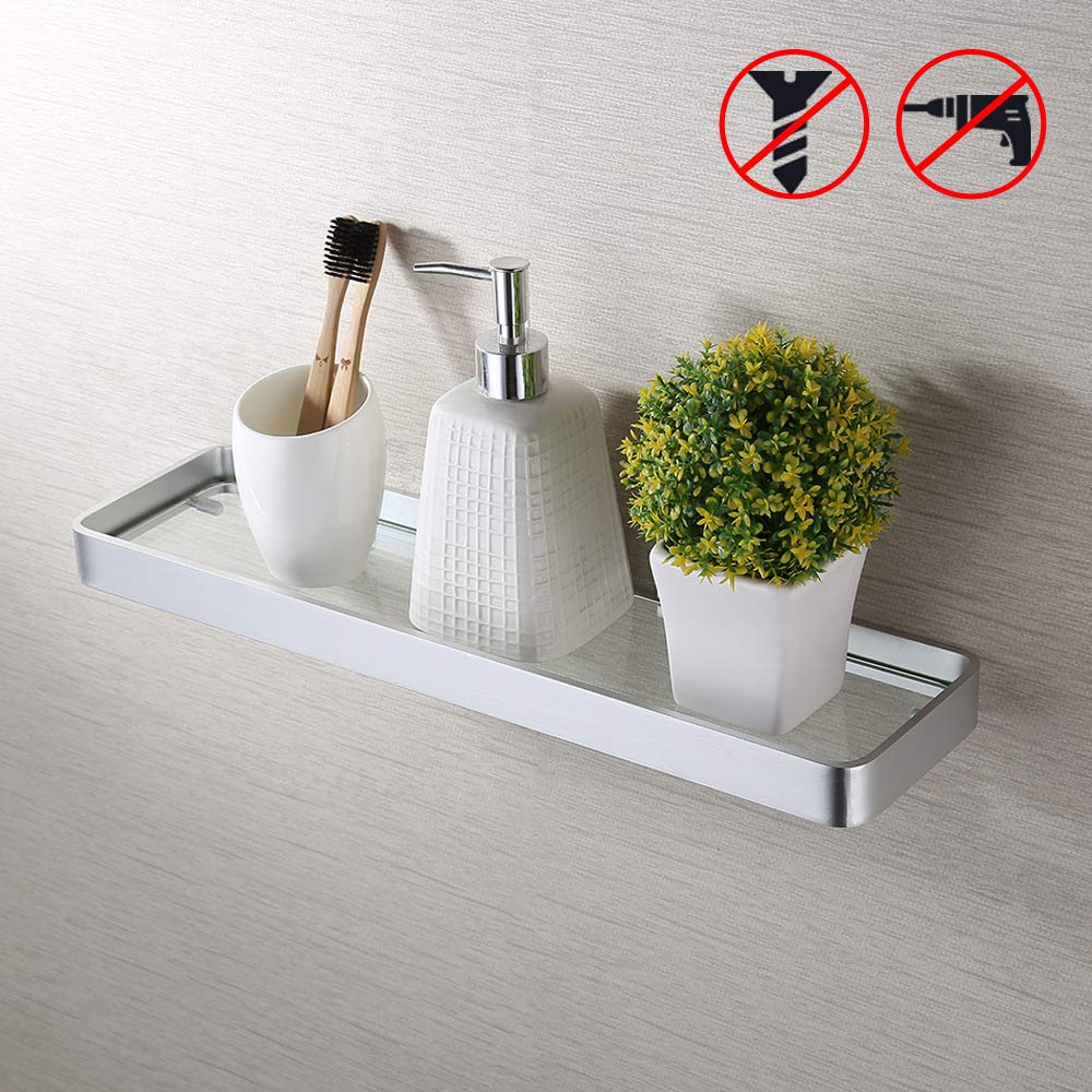 Kes Bathroom Glass Shelf Aluminum Shower Caddy Drill Free Glue Wall Mount Extra Long Retangular 45 cm Rust Proof Anodized Silver, BGS4201S45DG