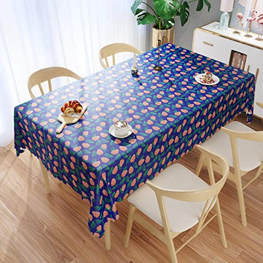 WJJYTX Mantel plastico Mesa Rectangular, Square plástico Mantel Protector de Aceite/Tela de Vinilo para Toda ocasión vajilla Azul Fresa @ 90 * 140: Amazon.es: Jardín