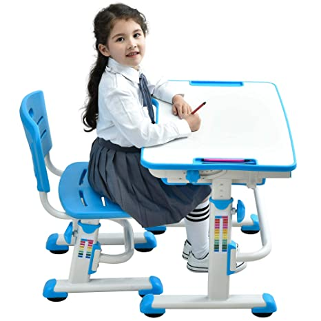 Awe Inspiring Ergonomic Kids Desk Chair Height Adjustable Children Study Desk Kids Table Chair With Cute Animal Seat Pad Mini Blue Caraccident5 Cool Chair Designs And Ideas Caraccident5Info