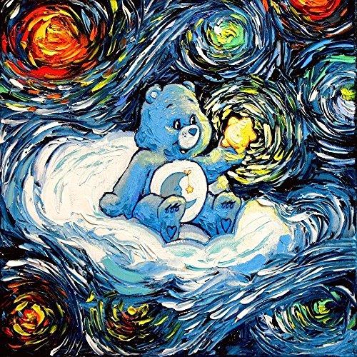care-bear-inspired-art-print-starry-night-bedtime-bear-van-gogh-never-saw-care-a-lot-art-by-aja-8x8-