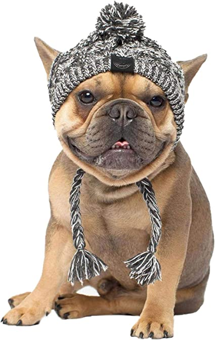 Winter Dog Warm Hat Christmas Pet Dog Cute Fashion Woolen Hat With White Pom-pom Ball Pet Headwear Headdress Costume Accessory For Medium Large Dogs French Bulldog
