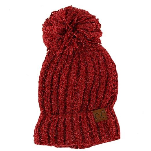 2277e69fa21 CC BEANIE Winter Soft Chenille Pom Pom Warm Chunky Stretchy Knit Beanie Cap  Hat