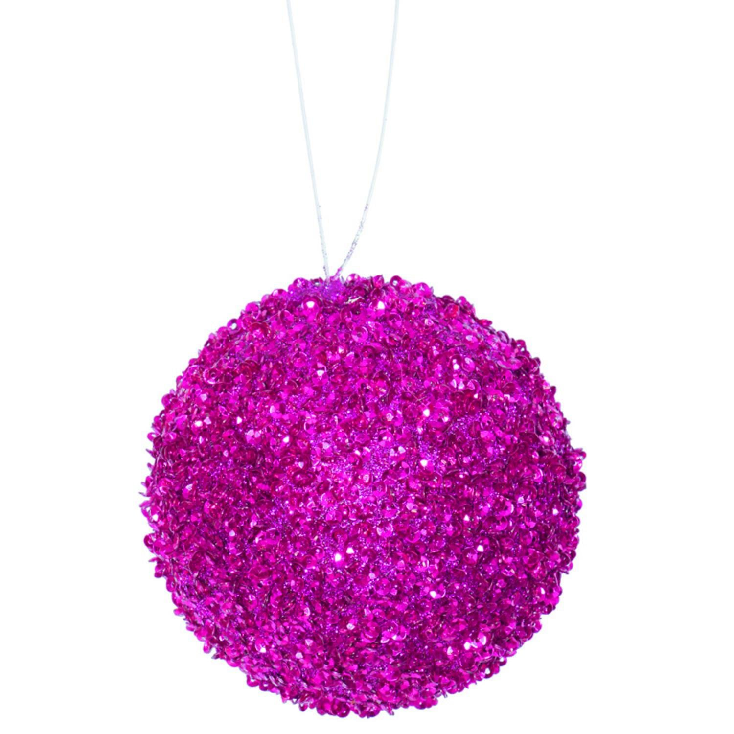 4ct Fuschia Sequin and Glitter Drenched Christmas Ball Ornaments 4'' (100mm)