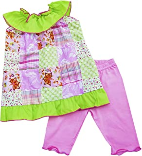 product image for Cheeky Banana Sweet Little Girl Patchwork Ruffle Collar Set Pink/Lime