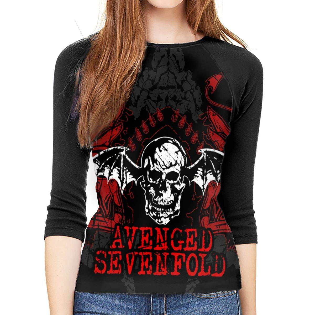 AsziSham Avenged Sevenfold Women's 3/4-Sleeve Raglan T-Shirt Shirt Casual Round Neck Top T-Shirt Black