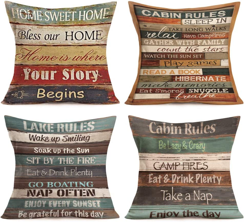 Aremetop Vintage Family Cabin Rules Lettering Cotton Linen Throw Pillow Case Decorative Cushion Cover Colorful Wood Background with Warm Lettering Pillowcase for Home Sofa 18''x18'' Set of 4