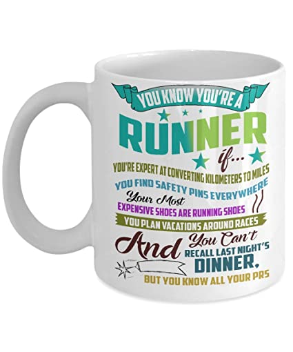 1d760657b06fa Amazon.com  Running Mug - You Know You re a Runner If - Marathon Coffee Cup  - Funny Gifts for Runners  Kitchen   Dining