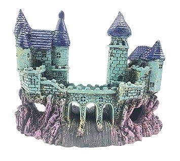 Acuario Decoración Castillo, govine mofawo Magic castillo acuario decoraciones de acuario adorno: Amazon.es: Productos para mascotas