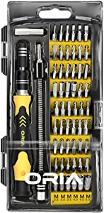 ORIA Precision Screwdriver Kit, 60 in 1 with 56 Bits Screwdriver Set, Magnetic Driver Kit with Flexible Shaft, Extension Rod for Mobile Phone, Smartphone, Game Console, Tablet, PC, Yellow