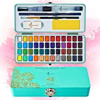 Artistro Watercolor Paint Set, 48 Vivid Colors in Portable Box, Including Metallic and Fluorescent Colors. Perfect…