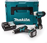 Makita CLX202AJ 10.8 V CXT Combi and Impact Driver with 2 x 2.0Ah batteries in MakPac case- Twin Pack