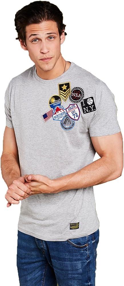 Brave Soul Hombre Scully Camiseta diseñador Variados Americano Parches Camiseta de algodón - Gris, M: Amazon.es: Ropa y accesorios