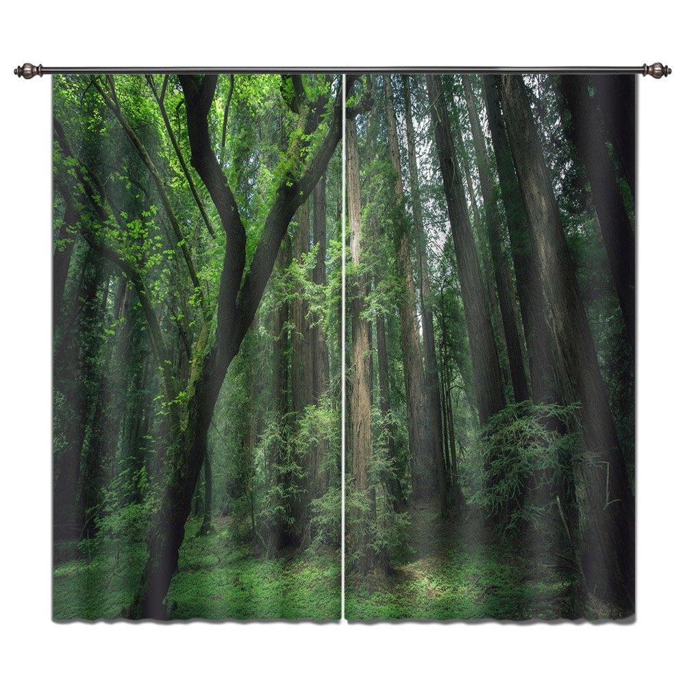 LB 3D Curtain Drapes Ocean Theme, Mural Curtain for Living Room Bedroom Photo of Green Palm Tree Relaxing Tropical Seascape 2 Panels Set, 55Wx65L(Size of 2 Panels)