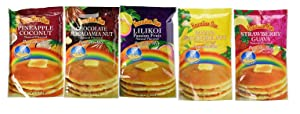 Hawaiian Sun 5 Pack Assorted Pancake Mix: Chocolate Mac, Passion Fruit, Banana Mac Nut, Coconut Pineapple, Strawberry Guava