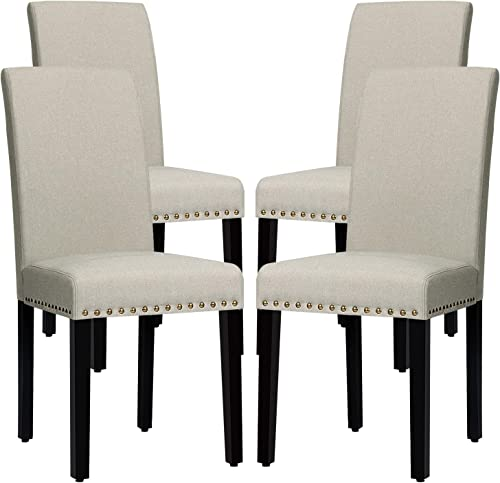 RELAX4LIFE Dining Chairs Set of 4 Fabric Upholstered