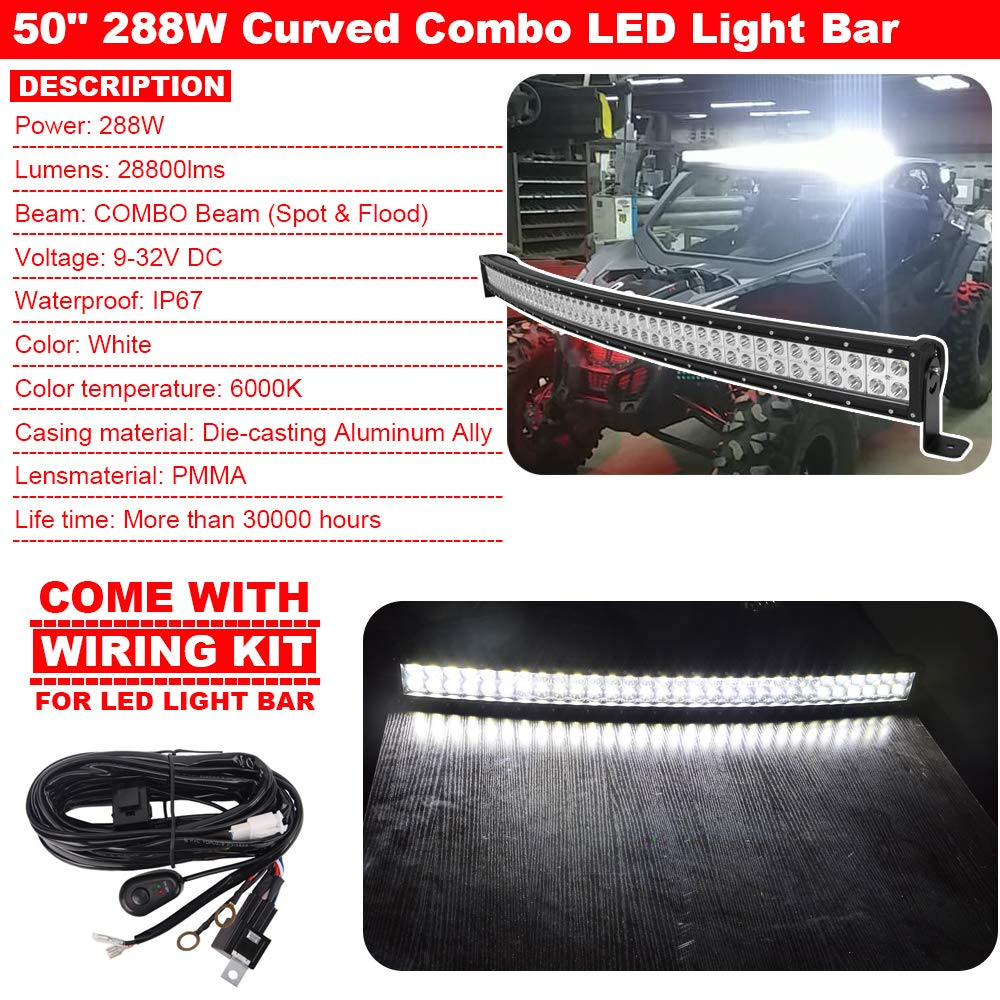 50inch 288w Curved Led Light Bar Combo Upper Roof Wiring Kit For Mounting Brackets Fit Can Am Maverick X3 Max Automotive
