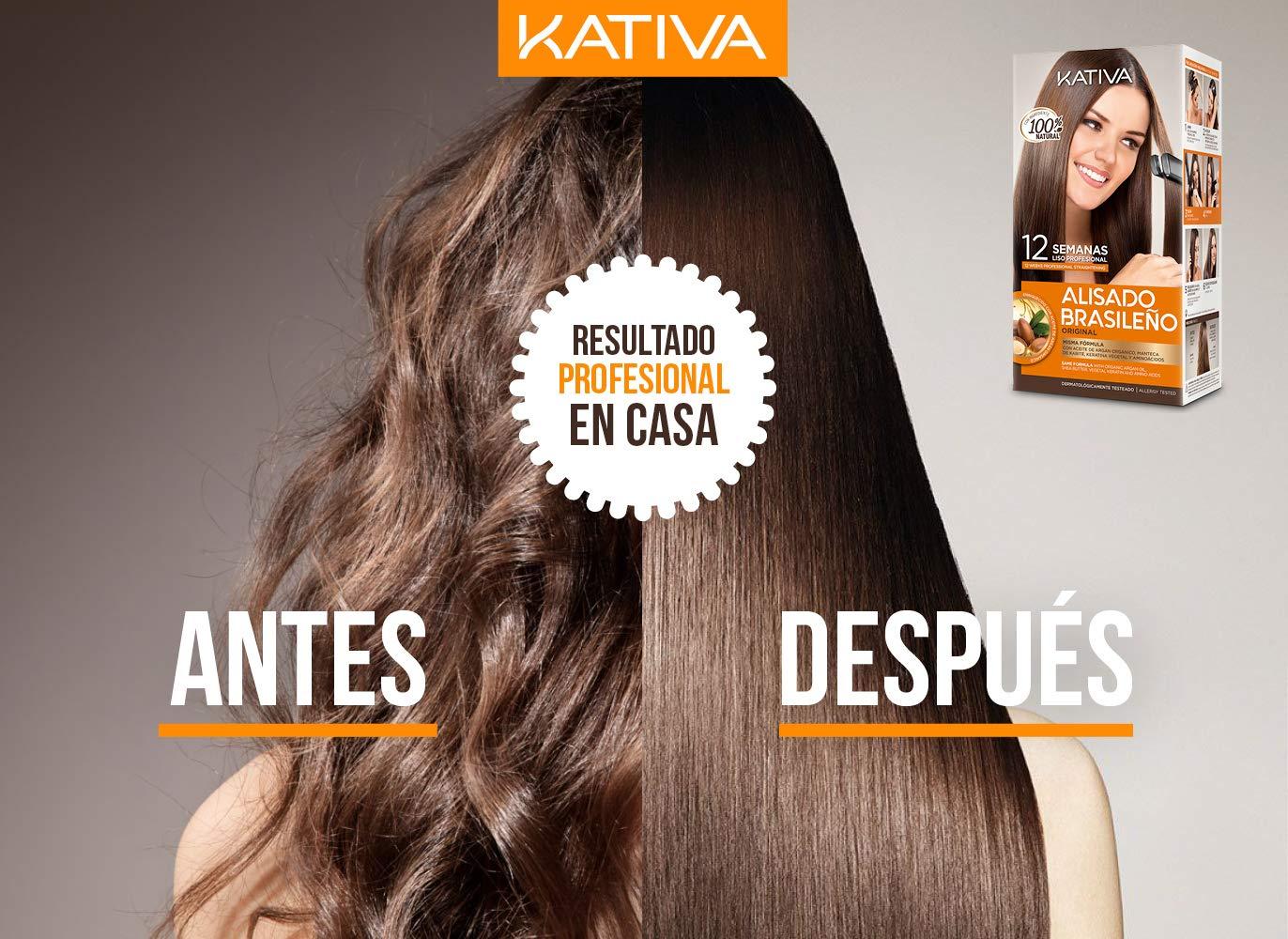 Pack ahorro Kativa Kit Alisado Brasileño con Champú Post Alisado - Tratamiento Alisado Profesional en casa - Hasta 12 Semanas de duración - Alisado ...