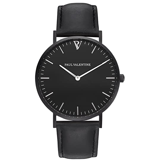 Paul Valentine Reloj de pulsera | feliz Blach Leather | Mujer Reloj con elegante diseño &