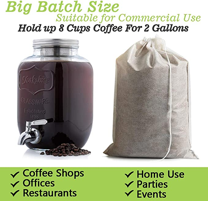 8 x 11.8 Inches 60 Count Single Use Filter Sock Packs Fine Mesh Brewing Bags for Concentrate Disposable Cold Brew Coffee Filters Tea in Mason Jar French//Cold Press Kit Iced Coffee Maker