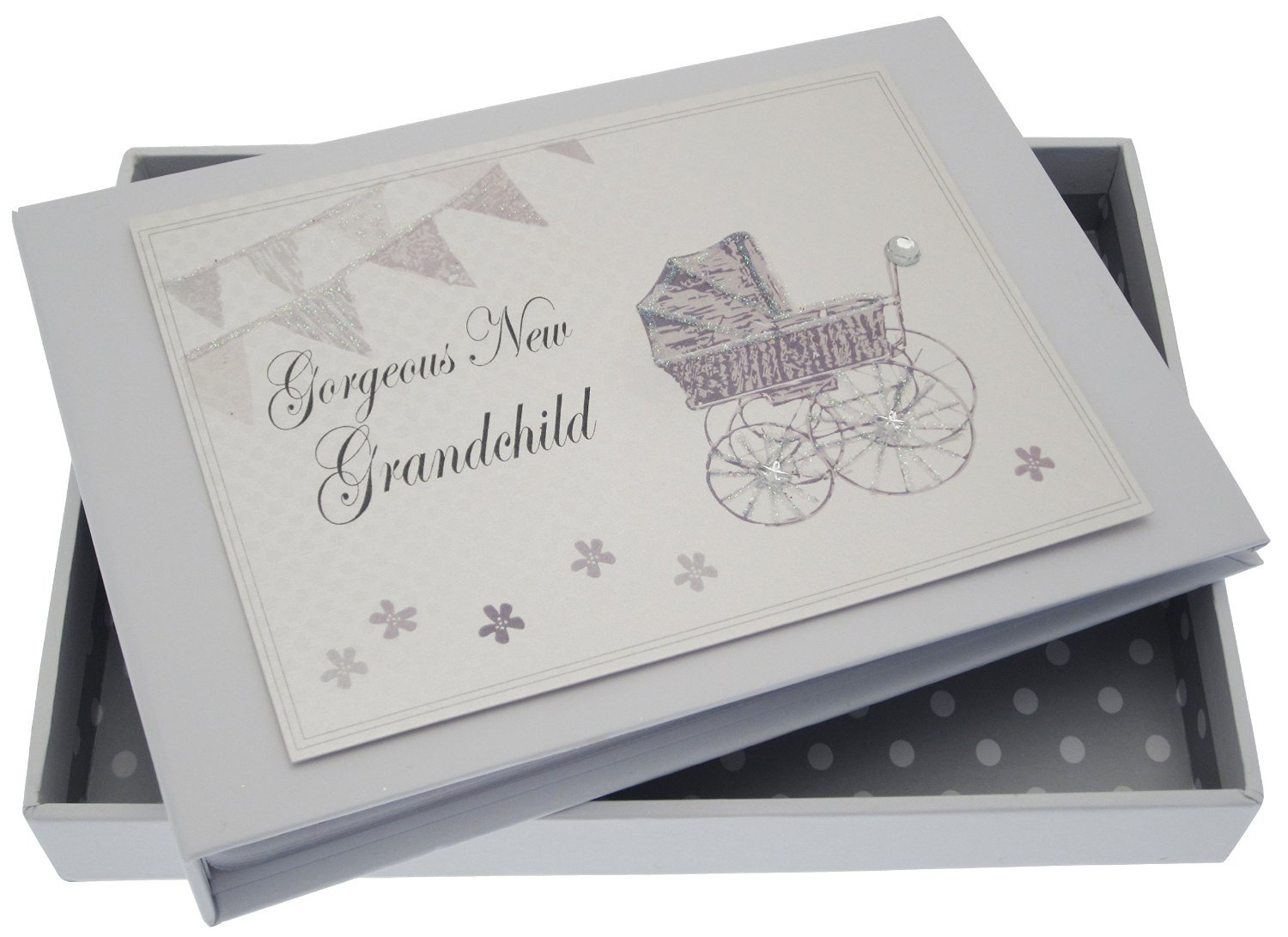 White Cotton Cards New Grandchild Tiny Album (Silver Pram and Bunting) PR7