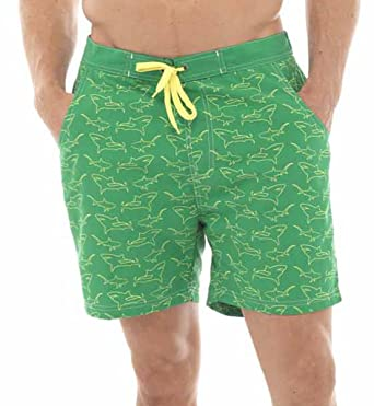 5e676f0fce Mens Shark Print Swim Shorts Swimming Trunks Beach Pants Surf Holiday Swimwear  Green Medium