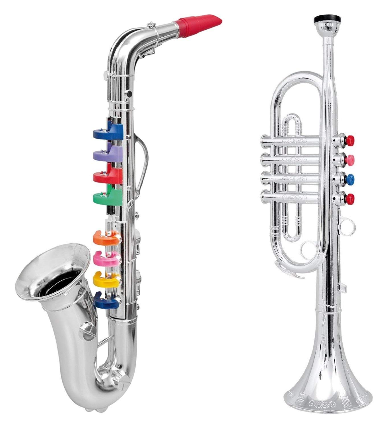 Click n' Play Set of 2 Musical Wind Instruments for Kids - Metallic Silver Saxophone and Trumpet Horn (Renewed) by Click N' Play