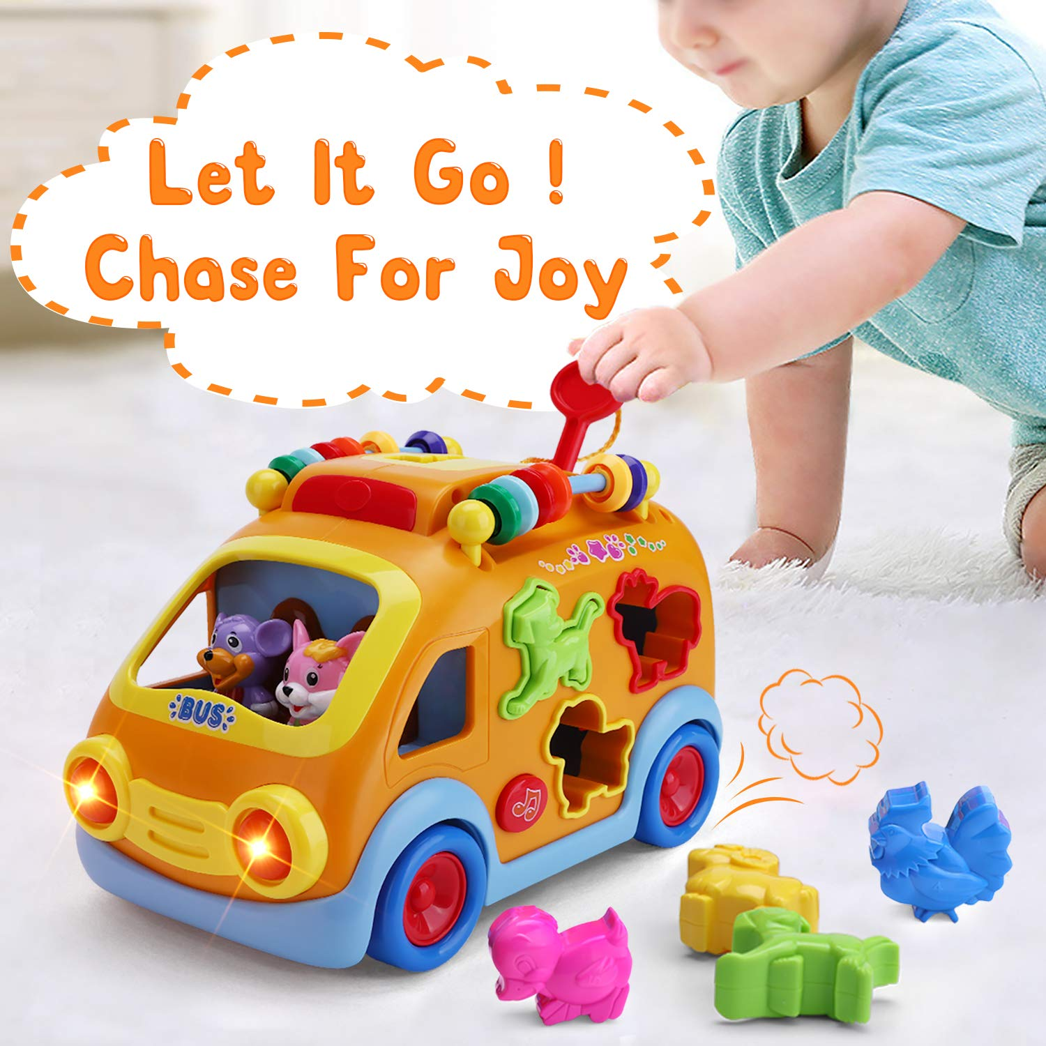 iPlay, iLearn Electronic Musical Bus, Baby Sensory Toy, 3D Animal Matching Car w/ Gear, Early Development, Learning, Educational Gift for 1, 2 Year Olds Girls Boys Toddlers Kids by iPlay, iLearn (Image #5)