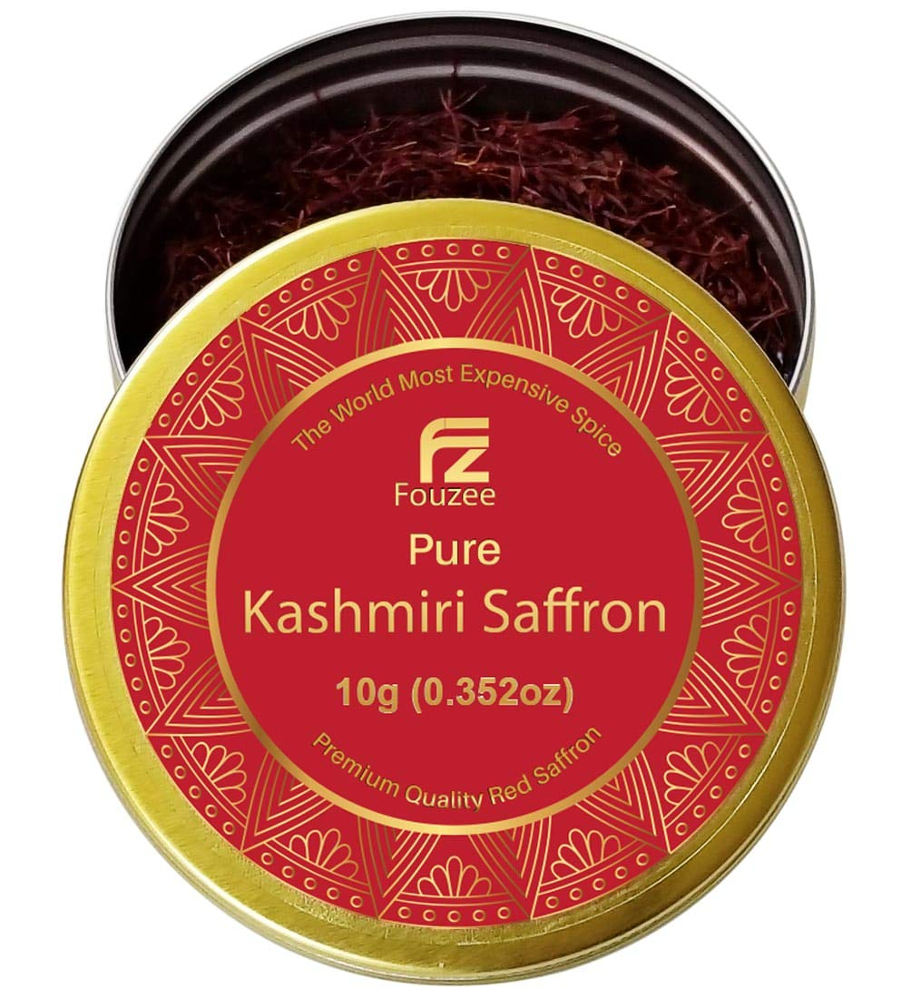 Fouzee Pure Kashmiri Saffron Threads 0.352oz 10g – Finest 100% All-Red Saffron Spice For Cooking, Paella Rice, Golden Milk, Persian Rice, Tea