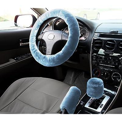 Zone Tech Non-Slip Car Decoration Steering Wheel Handbrake Gear Shift Plush Cover (Blue): Automotive