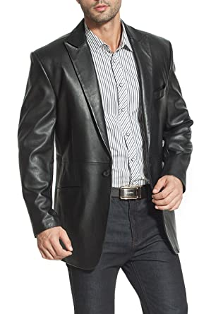 e4bfb50b88c5 BGSD Men s Judd One-Button Lambskin Leather Blazer (Regular Tall ...