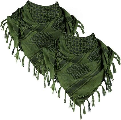 Green Fashion Story Men Army Military Tactical Arab Tassel Shawl Wrap Keffiyeh Shemagh