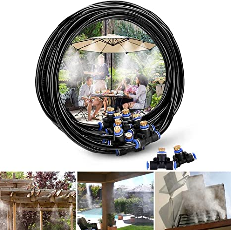 INMUA Kits de nebulización Jardin Terraza Pergola Exterior, Sistema de enfriamiento de Niebla, Sistema de Nebulizador para Greenhouse Garden Patio ...