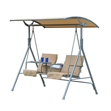 Outsunny 2 Person Covered Patio Swing W/ Pivot Table U0026 Storage Console    Beige