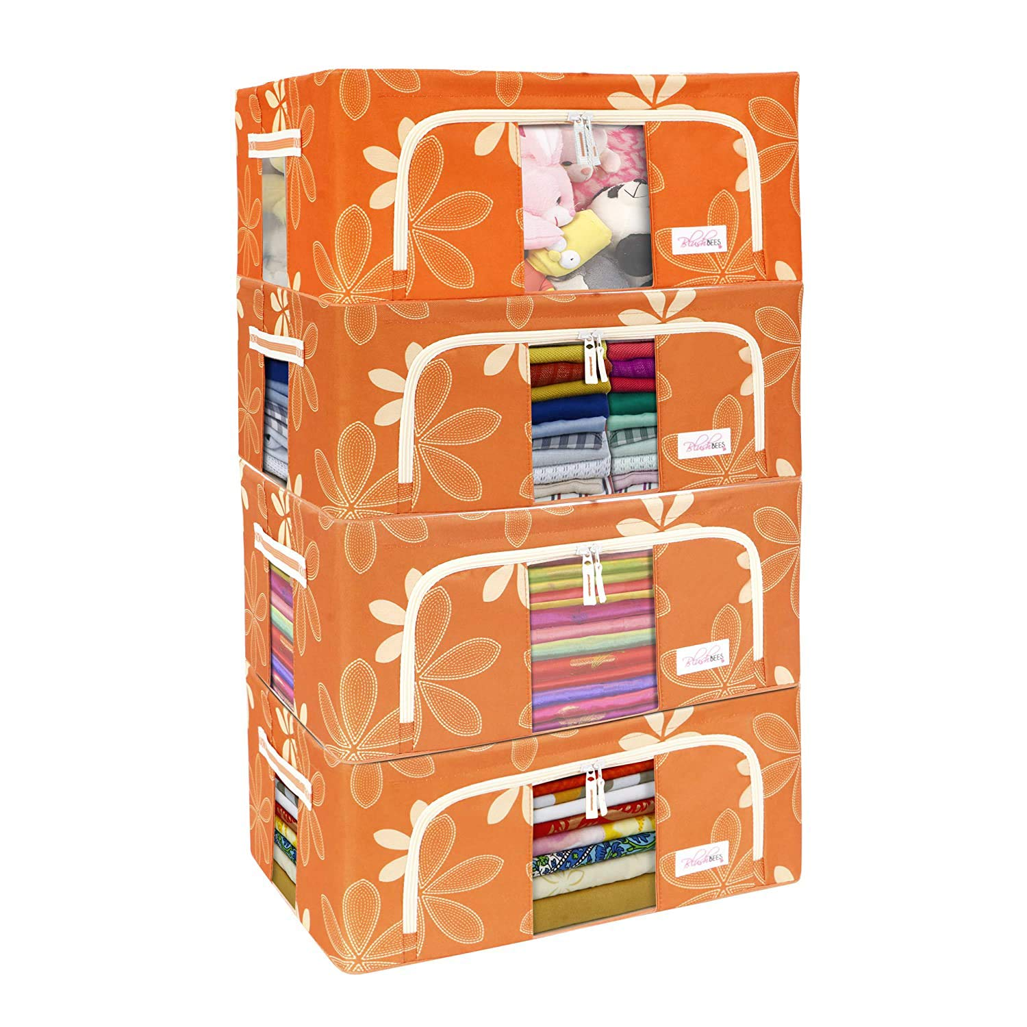 BlushBees Living Box - Foldable Storage Boxes for Clothes, Saree Cover Bags - 44 Litre, Pack of 4, Orange