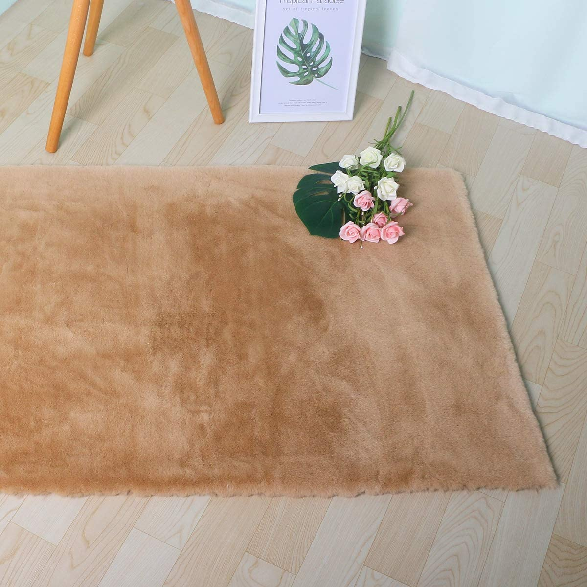 SXYHKJ Faux Sheepskin Area Rug,Lambskin Fur Rug,Super Soft Faux Rabbit Fur Rug| Fluffy Rug for The Bedroom 60x90cm, Brown Furry Carpet or Throw for Chairs Living Room or Nursery
