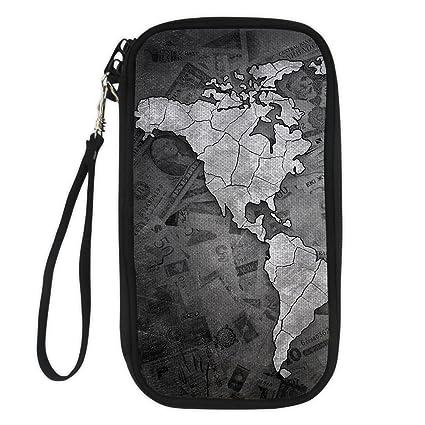 31c2ede341f5 STARTERY Stylish Map Travel Passport Wallet Document Organizer Cluntch Bag  for Women, map 9