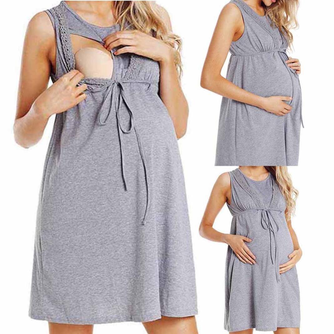 STRIR Vestido de Lactancia Maternidad de Noche Camisón Mujeres Embarazadas Ropa de Dormir Premamá Pijama Verano Encaje: Amazon.es: Ropa y accesorios