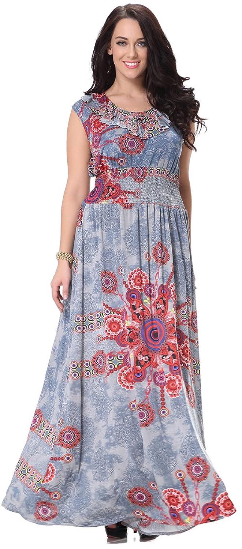 Fashciaga Women's Retro Sleeveless Collect Waist Printed Dress