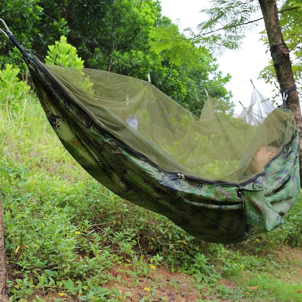 Hamac de Voyage pour 2 Personnes avec Cordes pour Jardin de la Jungle GOTOTOP Hamac de Camping avec moustiquaire