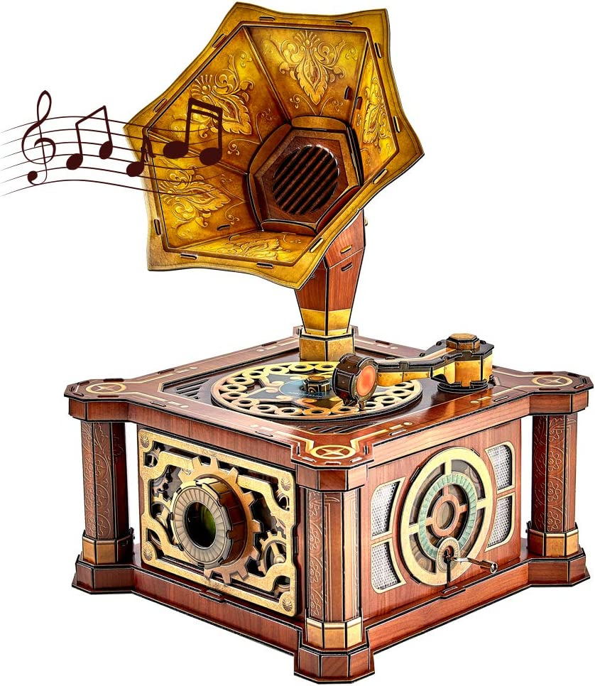CubicFun 3D Puzzles Music Box for Adults Vintage Gramophone Handcrank Foam Board Model Kits, Room Decor and Birthday Craft Gifts for Women and Men, Stress Relief Castle in The Sky 66 Pieces